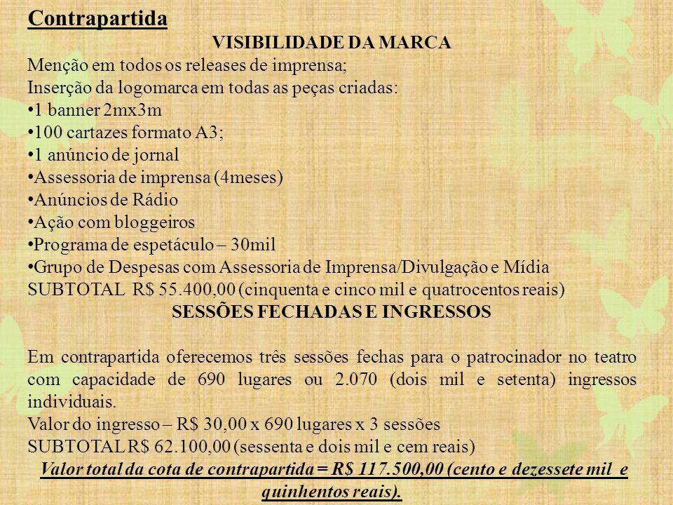 Valores: Este projeto está aprovado pela lei de incentivo fiscal do Estado de São Paulo ProAc/ICMS, para capitação de recursos no valor de R$439.063,00 (quatrocentos e trinta e nove mil e sessenta e três reais) para a produção, execução e divulgação do projeto, em todas as suas etapas.