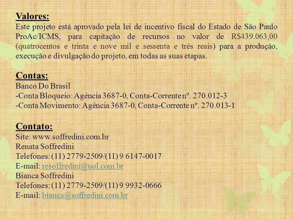 Valores: Este projeto está aprovado pela lei de incentivo fiscal do Estado de São Paulo ProAc/ICMS, para capitação de recursos no valor de R$439.063,0