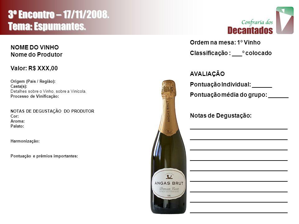 3º Encontro – 17/11/2008. Tema: Espumantes. NOME DO VINHO Nome do Produtor Valor: R$ XXX,00 Origem (País / Região): Casta(s): Detalhes sobre o Vinho,