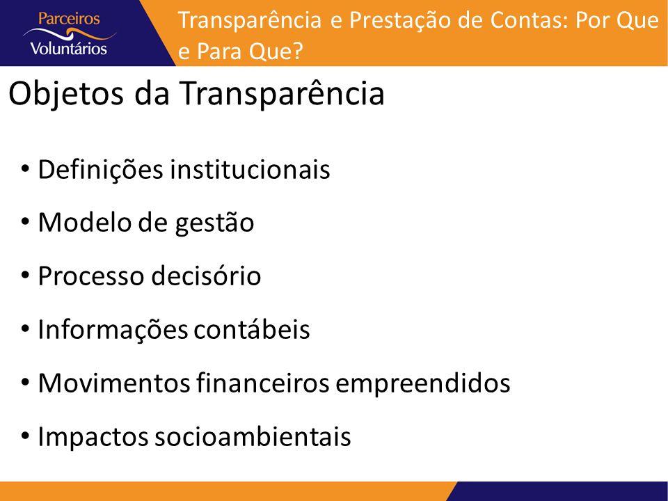 Objetos da Transparência Definições institucionais Modelo de gestão Processo decisório Informações contábeis Movimentos financeiros empreendidos Impac