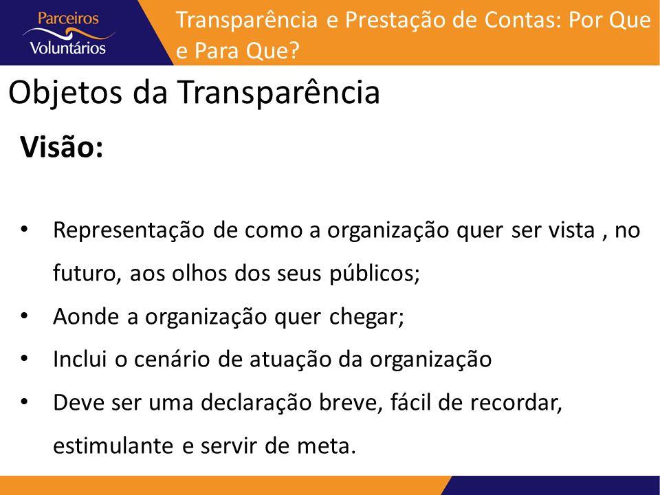 Objetos da Transparência Visão: Representação de como a organização quer ser vista, no futuro, aos olhos dos seus públicos; Aonde a organização quer c