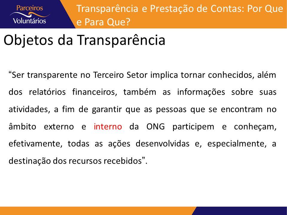 Objetos da Transparência Ser transparente no Terceiro Setor implica tornar conhecidos, além dos relatórios financeiros, também as informações sobre su