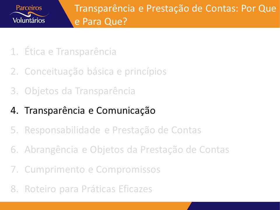 Transparência e Prestação de Contas: Por Que e Para Que? 1.Ética e Transparência 2.Conceituação básica e princípios 3.Objetos da Transparência 4.Trans