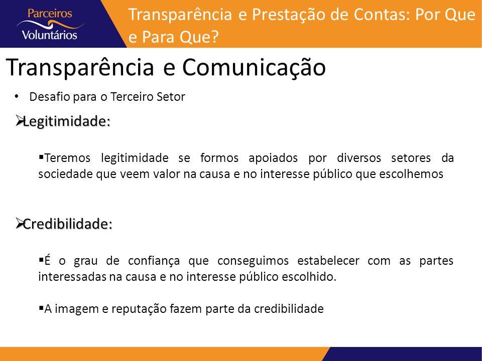 Transparência e Comunicação Transparência e Prestação de Contas: Por Que e Para Que? Legitimidade: Legitimidade: Teremos legitimidade se formos apoiad