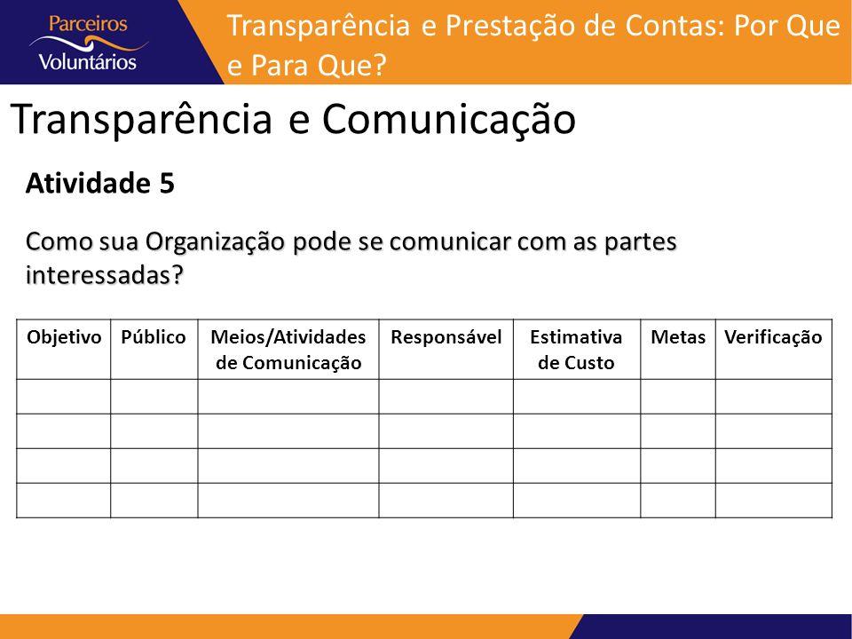 Transparência e Comunicação Transparência e Prestação de Contas: Por Que e Para Que? Atividade 5 Como sua Organização pode se comunicar com as partes