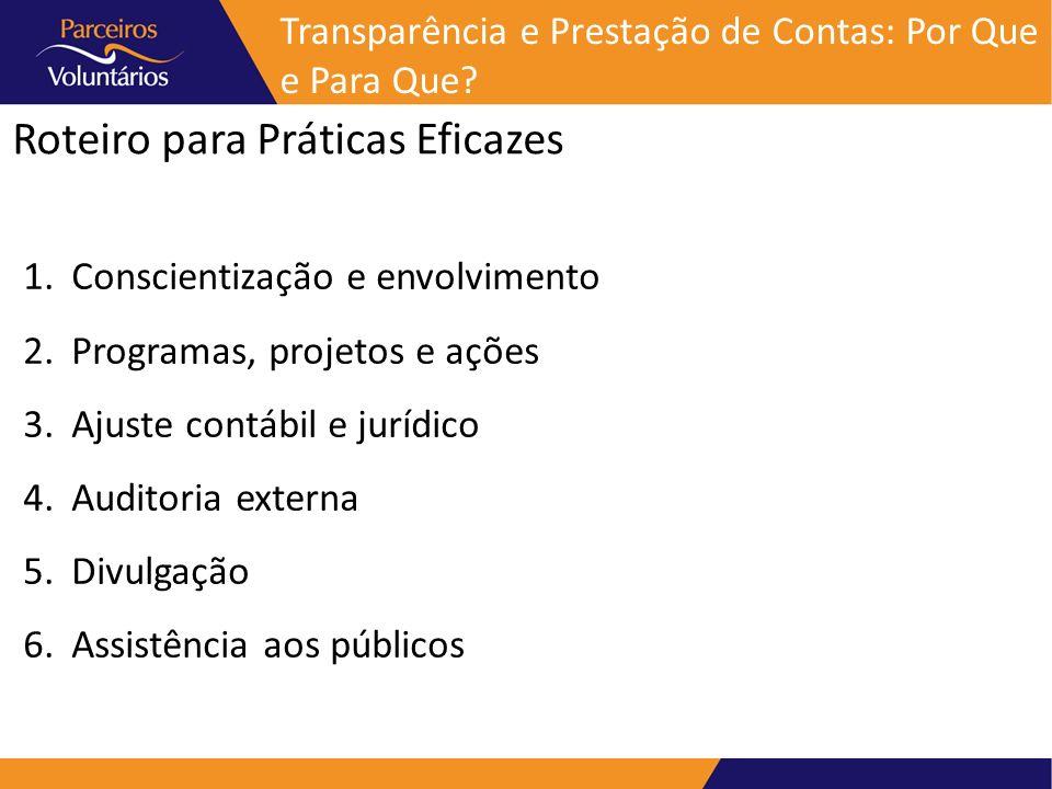 Roteiro para Práticas Eficazes Transparência e Prestação de Contas: Por Que e Para Que? 1. Conscientização e envolvimento 2. Programas, projetos e açõ