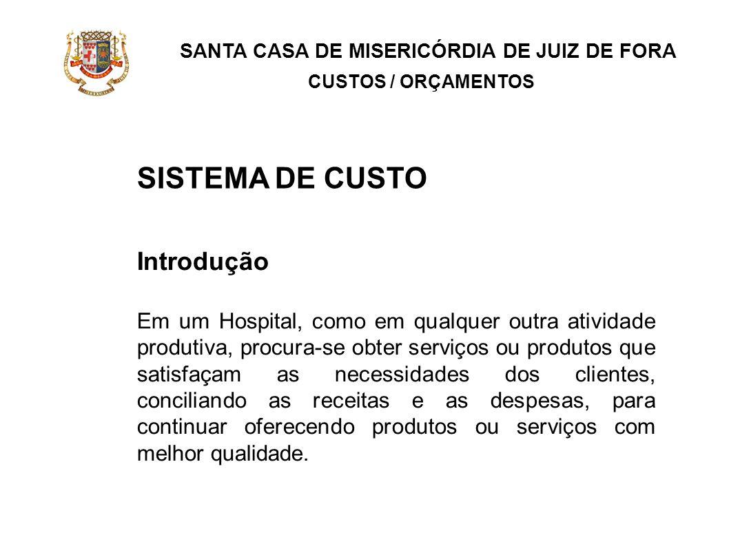 SANTA CASA DE MISERICÓRDIA DE JUIZ DE FORA CUSTOS / ORÇAMENTOS Introdução Em um Hospital, como em qualquer outra atividade produtiva, procura-se obter