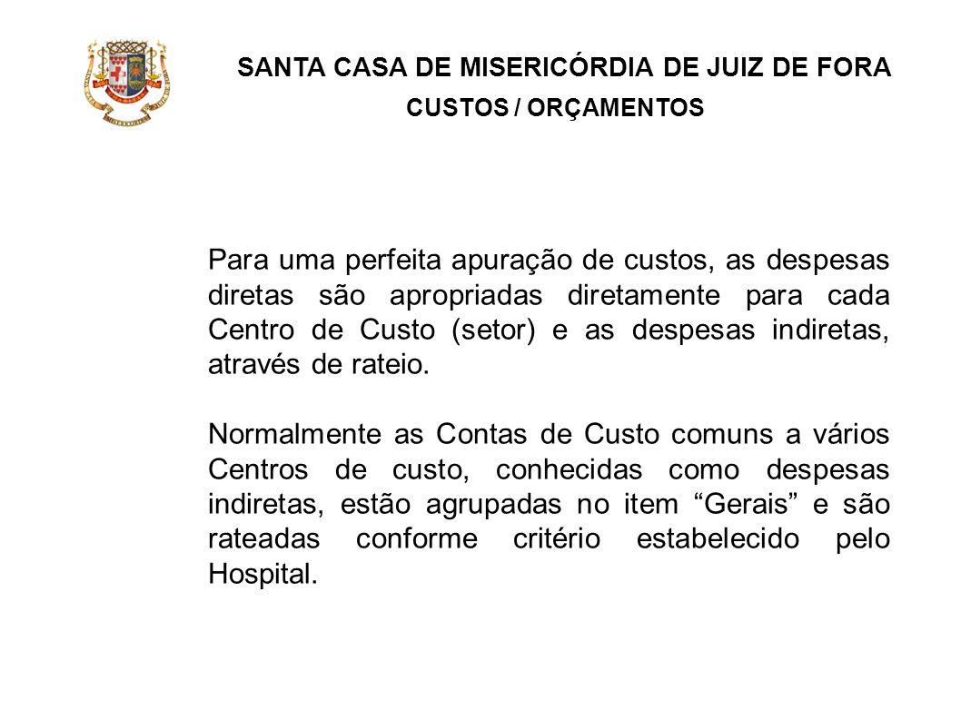 SANTA CASA DE MISERICÓRDIA DE JUIZ DE FORA CUSTOS / ORÇAMENTOS Para uma perfeita apuração de custos, as despesas diretas são apropriadas diretamente p