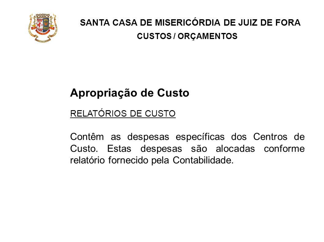 SANTA CASA DE MISERICÓRDIA DE JUIZ DE FORA CUSTOS / ORÇAMENTOS Apropriação de Custo RELATÓRIOS DE CUSTO Contêm as despesas específicas dos Centros de