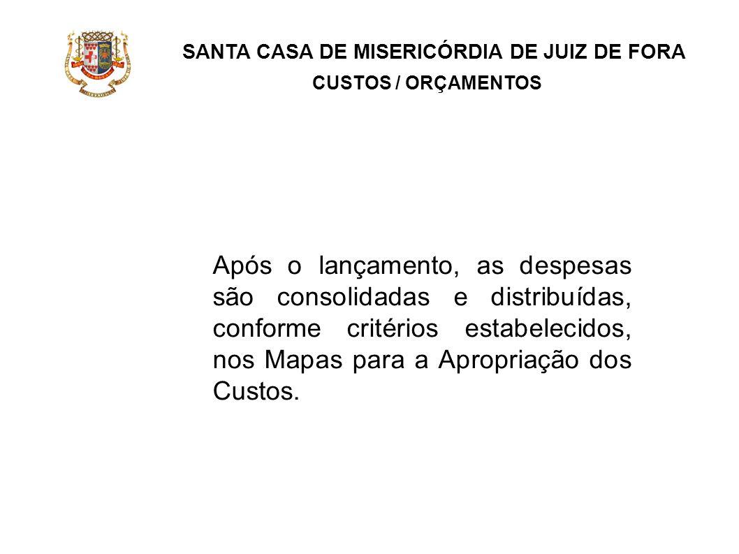 SANTA CASA DE MISERICÓRDIA DE JUIZ DE FORA CUSTOS / ORÇAMENTOS Após o lançamento, as despesas são consolidadas e distribuídas, conforme critérios esta