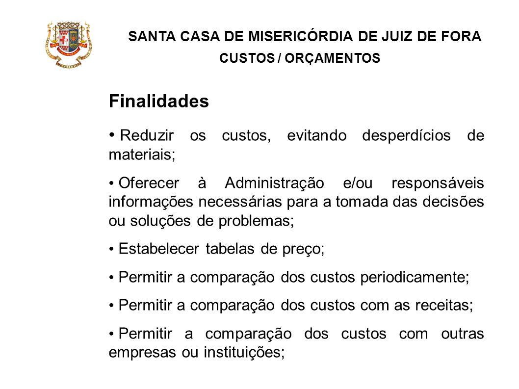 SANTA CASA DE MISERICÓRDIA DE JUIZ DE FORA CUSTOS / ORÇAMENTOS Finalidades Reduzir os custos, evitando desperdícios de materiais; Oferecer à Administr