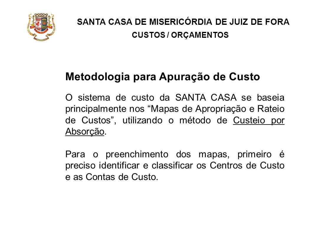 SANTA CASA DE MISERICÓRDIA DE JUIZ DE FORA CUSTOS / ORÇAMENTOS Metodologia para Apuração de Custo O sistema de custo da SANTA CASA se baseia principal