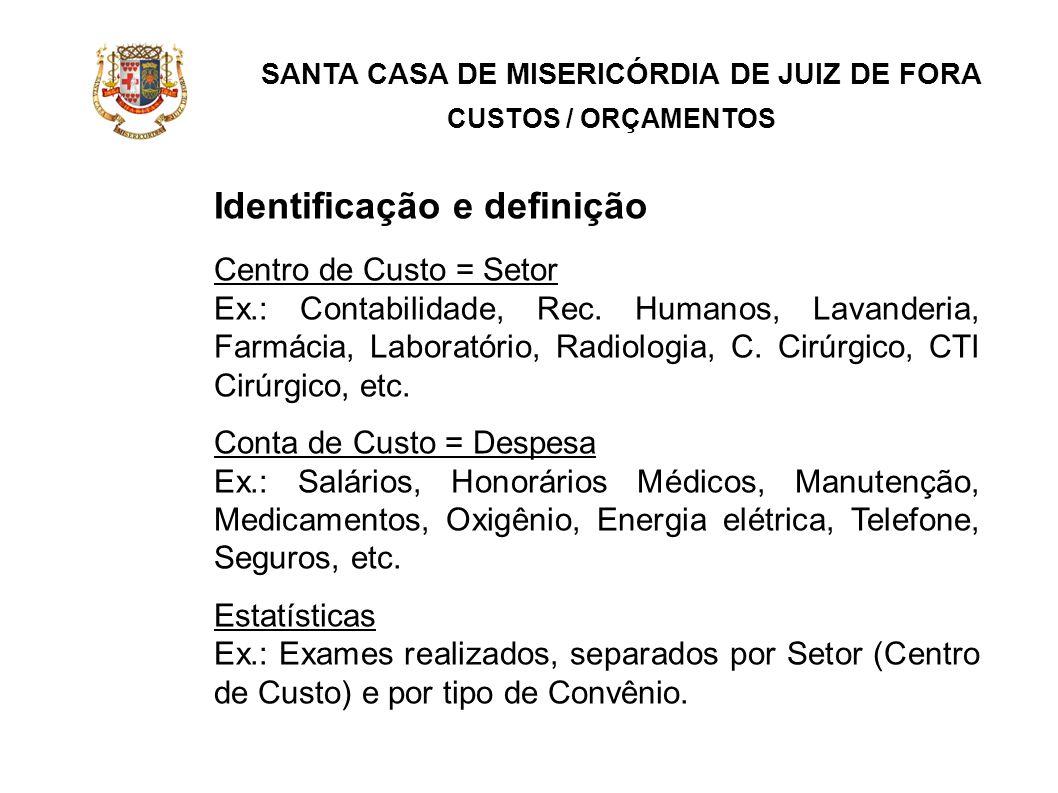 SANTA CASA DE MISERICÓRDIA DE JUIZ DE FORA CUSTOS / ORÇAMENTOS Identificação e definição Centro de Custo = Setor Ex.: Contabilidade, Rec. Humanos, Lav