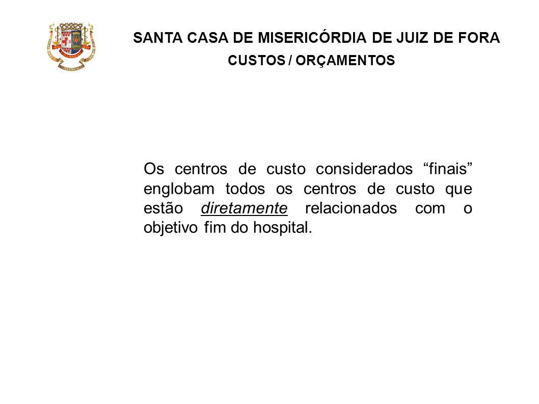 SANTA CASA DE MISERICÓRDIA DE JUIZ DE FORA CUSTOS / ORÇAMENTOS Os centros de custo considerados finais englobam todos os centros de custo que estão di