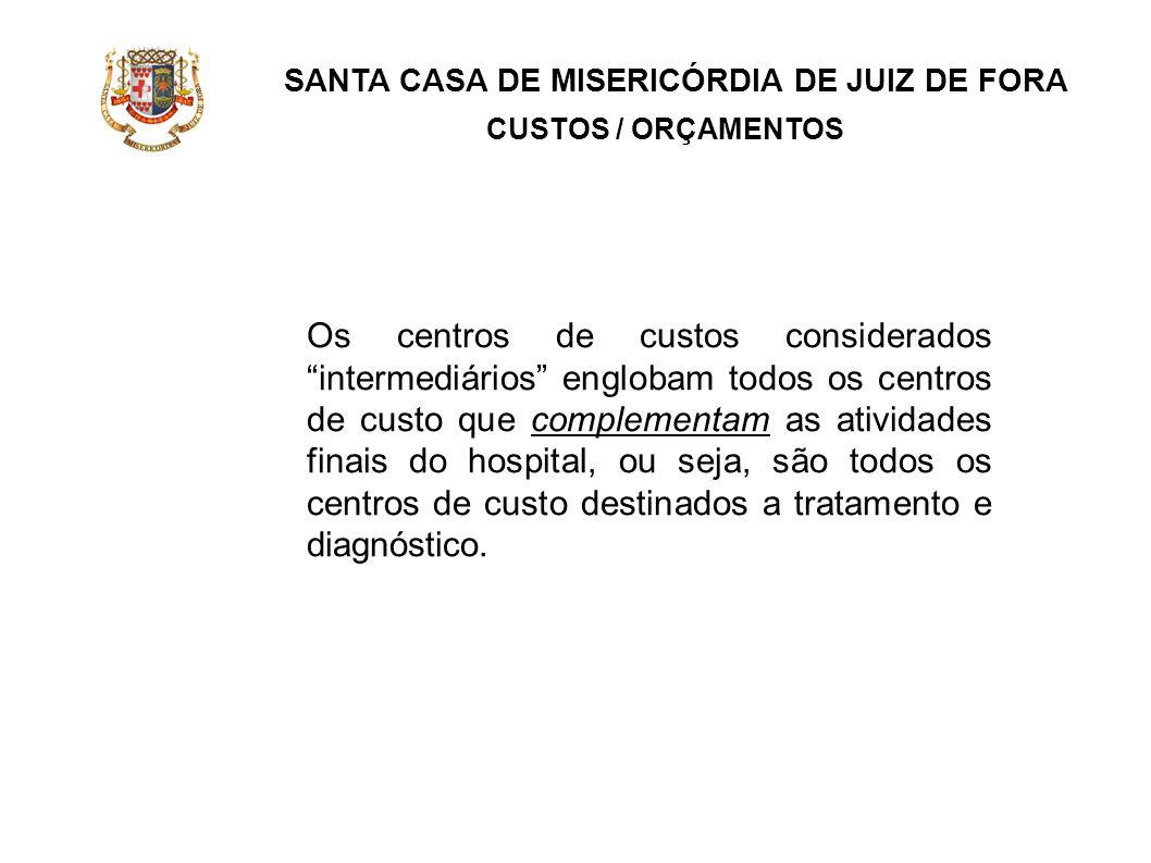 SANTA CASA DE MISERICÓRDIA DE JUIZ DE FORA CUSTOS / ORÇAMENTOS Os centros de custos considerados intermediários englobam todos os centros de custo que