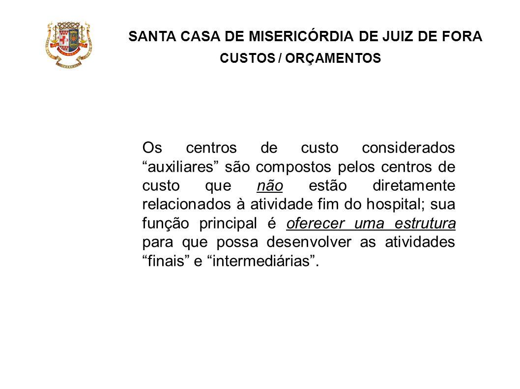 SANTA CASA DE MISERICÓRDIA DE JUIZ DE FORA CUSTOS / ORÇAMENTOS Os centros de custo considerados auxiliares são compostos pelos centros de custo que nã