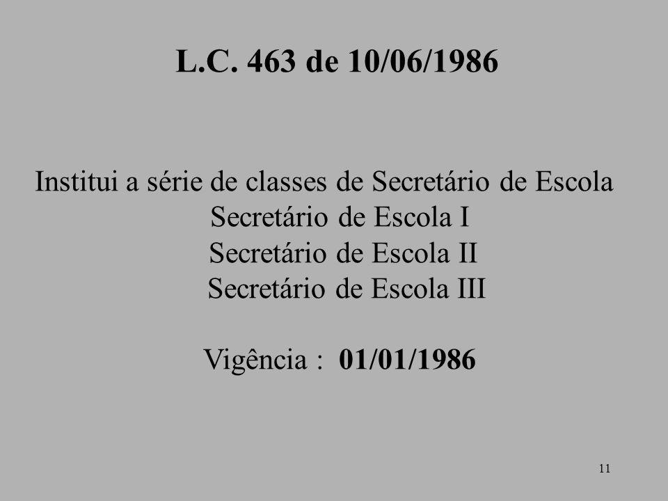 11 L.C. 463 de 10/06/1986 Institui a série de classes de Secretário de Escola Secretário de Escola I Secretário de Escola II Secretário de Escola III