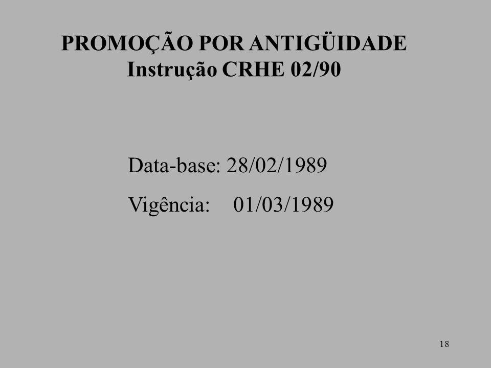 18 PROMOÇÃO POR ANTIGÜIDADE Instrução CRHE 02/90 Data-base: 28/02/1989 Vigência: 01/03/1989