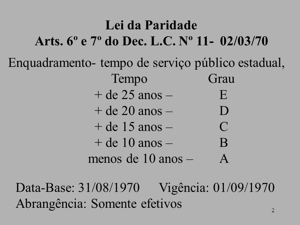 2 Lei da Paridade Arts.6º e 7º do Dec. L.C.