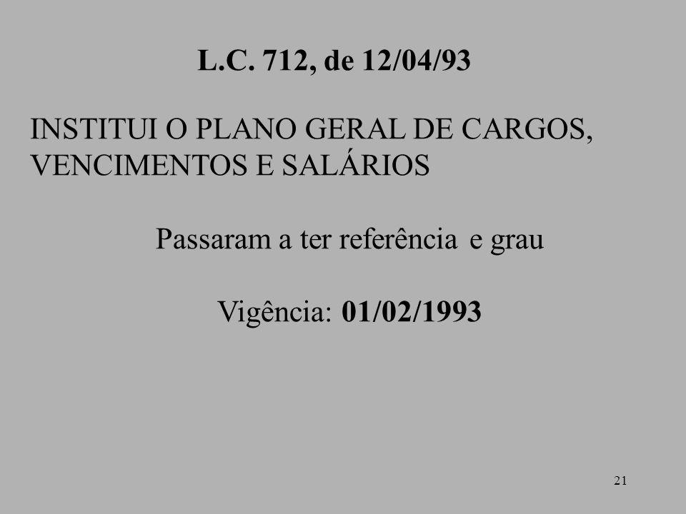 21 L.C. 712, de 12/04/93 INSTITUI O PLANO GERAL DE CARGOS, VENCIMENTOS E SALÁRIOS Passaram a ter referência e grau Vigência: 01/02/1993