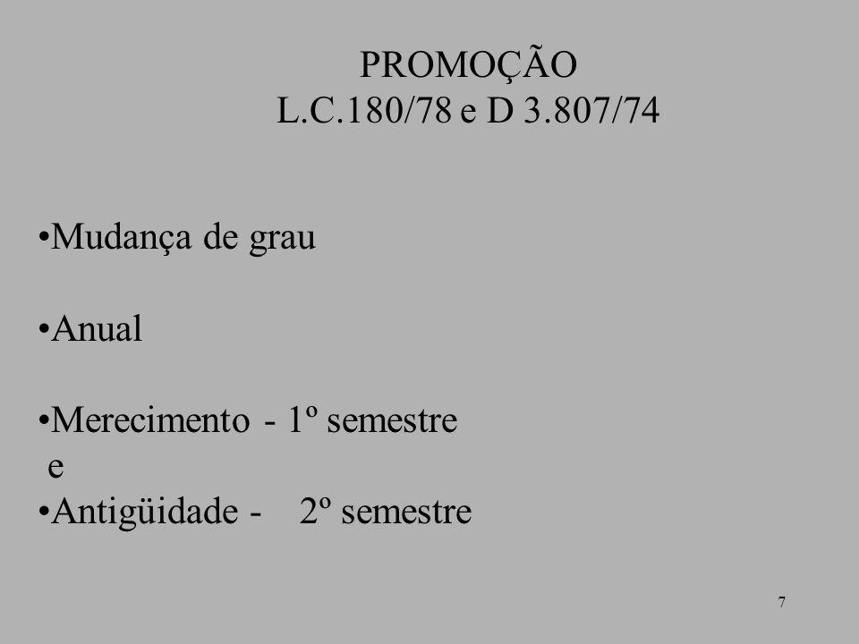 7 PROMOÇÃO L.C.180/78 e D 3.807/74 Mudança de grau Anual Merecimento - 1º semestre e Antigüidade - 2º semestre