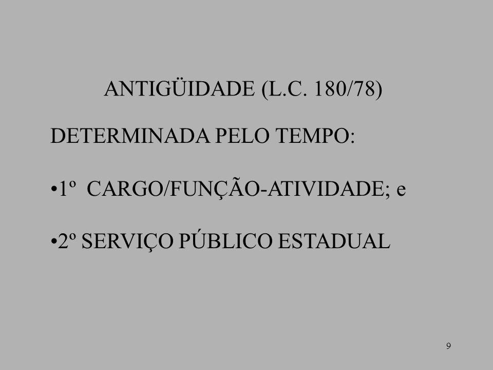 9 ANTIGÜIDADE (L.C. 180/78) DETERMINADA PELO TEMPO: 1º CARGO/FUNÇÃO-ATIVIDADE; e 2º SERVIÇO PÚBLICO ESTADUAL
