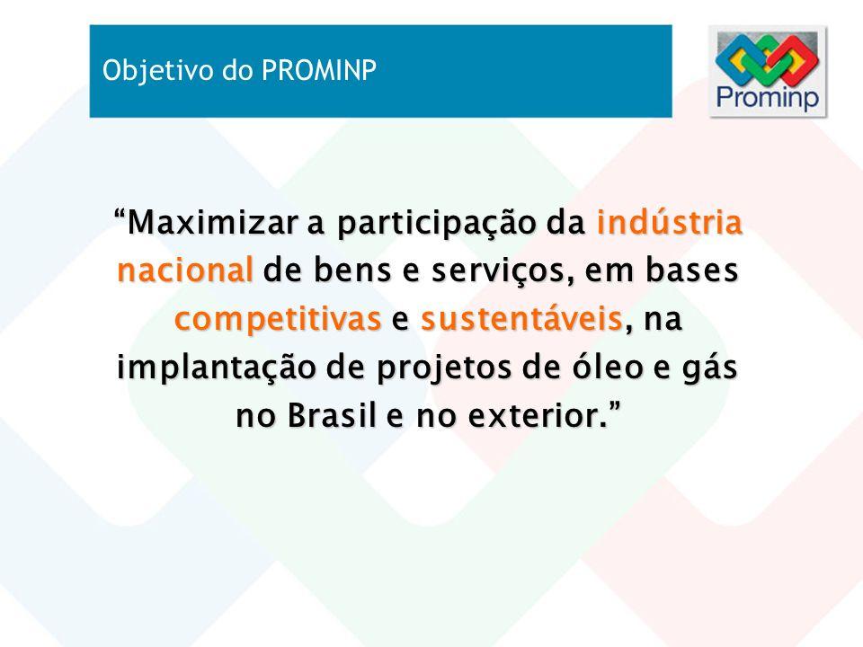 Objetivo do PROMINP Maximizar a participação da indústria nacional de bens e serviços, em bases competitivas e sustentáveis, na implantação de projeto