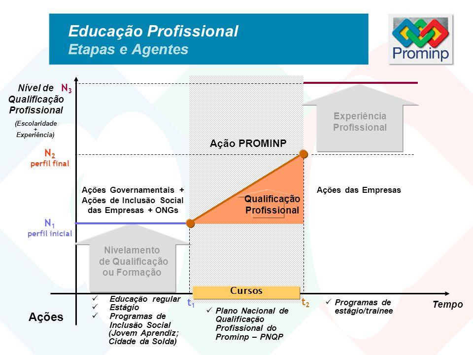 Educação Profissional Etapas e Agentes Tempo Nível de Qualificação Profissional (Escolaridade + Experiência) N 1 perfil inicial N 2 perfil final N3N3