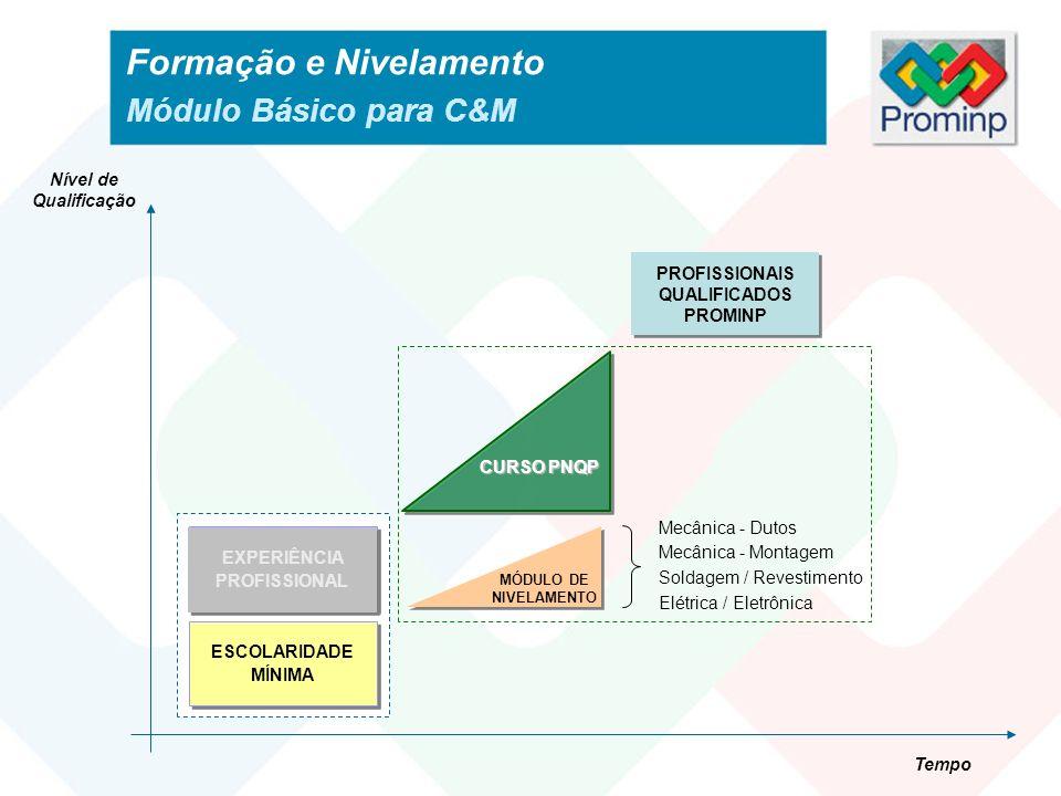 Formação e Nivelamento Módulo Básico para C&M PROFISSIONAIS QUALIFICADOS PROMINP Nível de Qualificação Tempo CURSO PNQP PRÉ-REQUISITOS BÁSICOS ESCOLAR