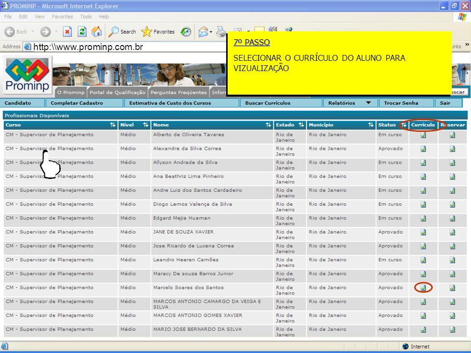 RJRIO DE JANEIROBÁSICO CM – SUPERVISOR DE PLANEJAMENTO http:\\www.prominp.com.br 7º PASSO SELECIONAR O CURRÍCULO DO ALUNO PARA VIZUALIZAÇÃO