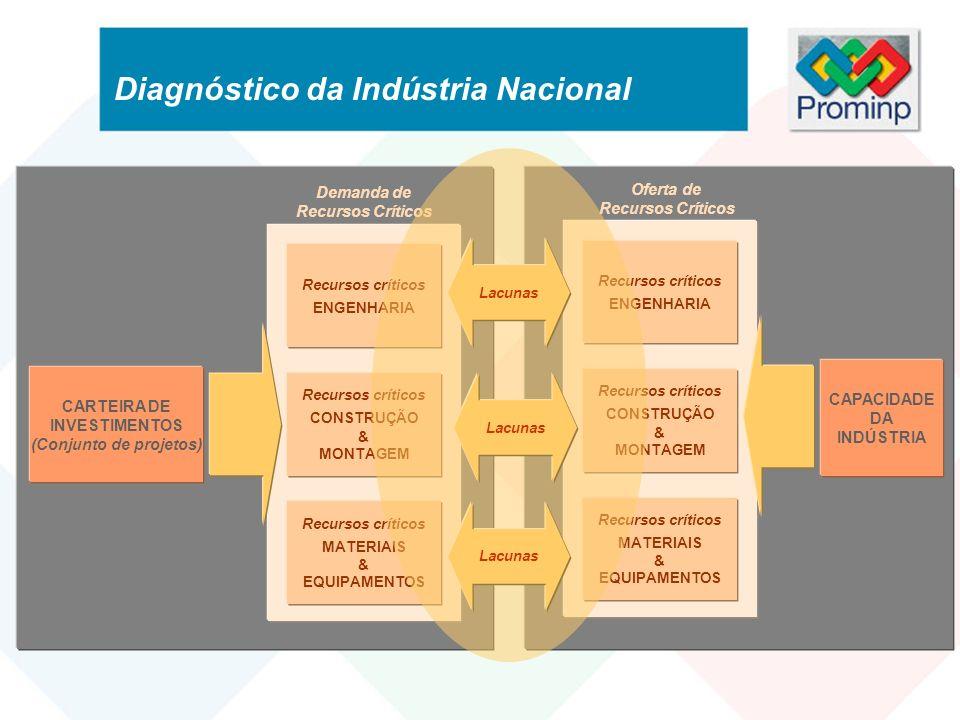 Levantamento da Carteira de Projetos da Petrobras Levantamento da Quantidade de Recursos Críticos para os Cronogramas dos Projetos 200220032004200520062007200820092010 Projeto A Projeto B Projeto C … Total Recurso X Demanda Planejada - Recurso Crítico X Diagnóstico da Indústria Nacional