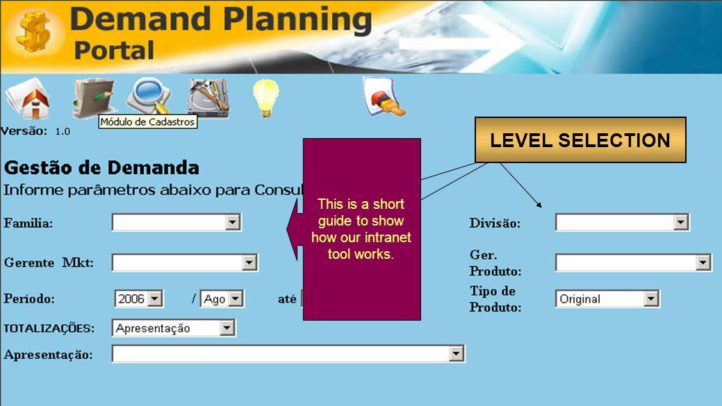 Curso de Especialização em Engenharia de Negócios Gestão de Demanda Pharma LEVEL SELECTION This is a short guide to show how our intranet tool works.