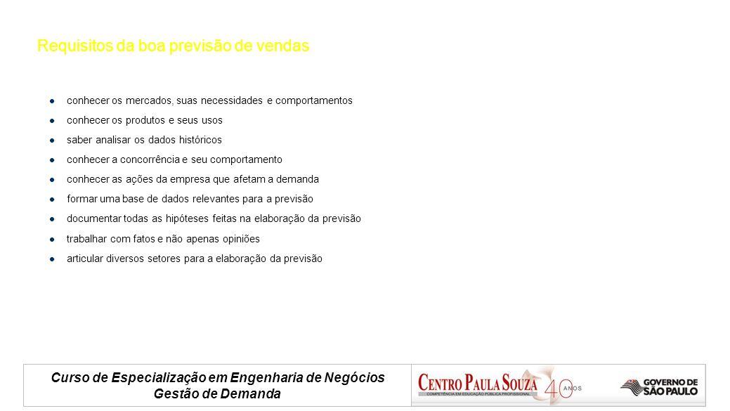 Curso de Especialização em Engenharia de Negócios Gestão de Demanda Requisitos da boa previsão de vendas conhecer os mercados, suas necessidades e com