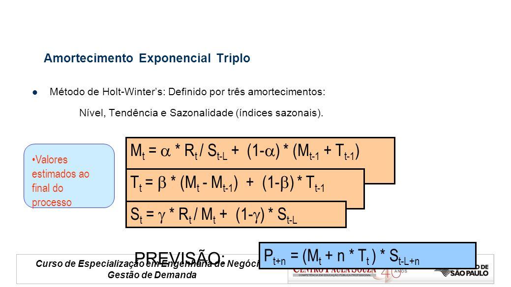 Curso de Especialização em Engenharia de Negócios Gestão de Demanda Amortecimento Exponencial Triplo Método de Holt-Winters: Definido por três amortec