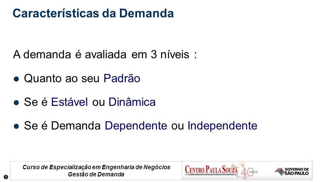 Curso de Especialização em Engenharia de Negócios Gestão de Demanda Características da Demanda A demanda é avaliada em 3 níveis : Quanto ao seu Padrão