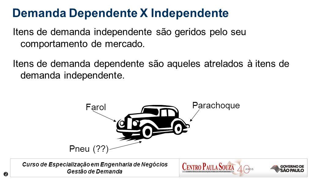 Curso de Especialização em Engenharia de Negócios Gestão de Demanda Demanda Dependente X Independente Itens de demanda independente são geridos pelo s