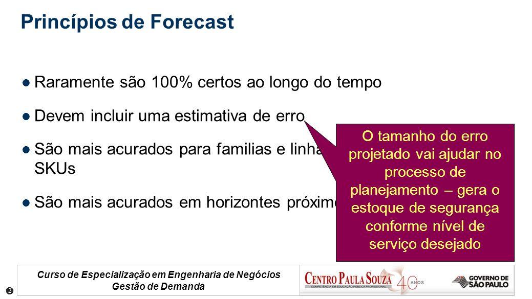 Curso de Especialização em Engenharia de Negócios Gestão de Demanda Princípios de Forecast Raramente são 100% certos ao longo do tempo Devem incluir u