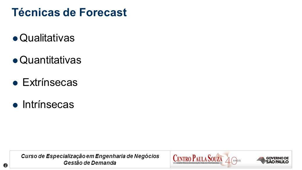Curso de Especialização em Engenharia de Negócios Gestão de Demanda Técnicas de Forecast Qualitativas Quantitativas Extrínsecas Intrínsecas