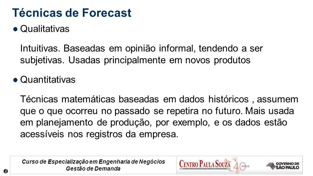 Curso de Especialização em Engenharia de Negócios Gestão de Demanda Técnicas de Forecast Qualitativas Intuitivas. Baseadas em opinião informal, tenden