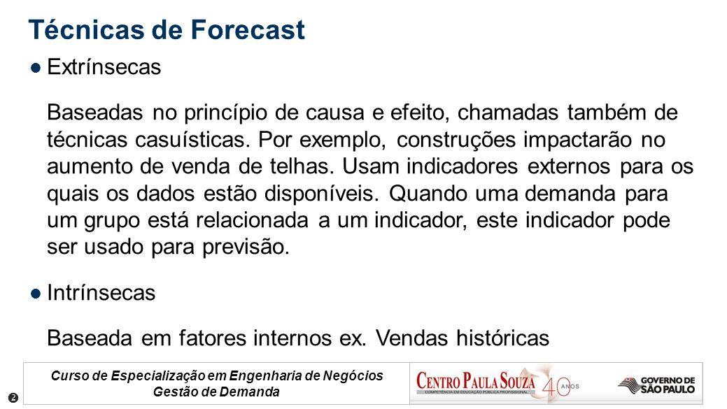 Curso de Especialização em Engenharia de Negócios Gestão de Demanda Técnicas de Forecast Extrínsecas Baseadas no princípio de causa e efeito, chamadas