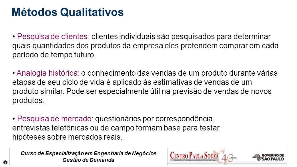 Curso de Especialização em Engenharia de Negócios Gestão de Demanda Pesquisa de clientes: clientes individuais são pesquisados para determinar quais q