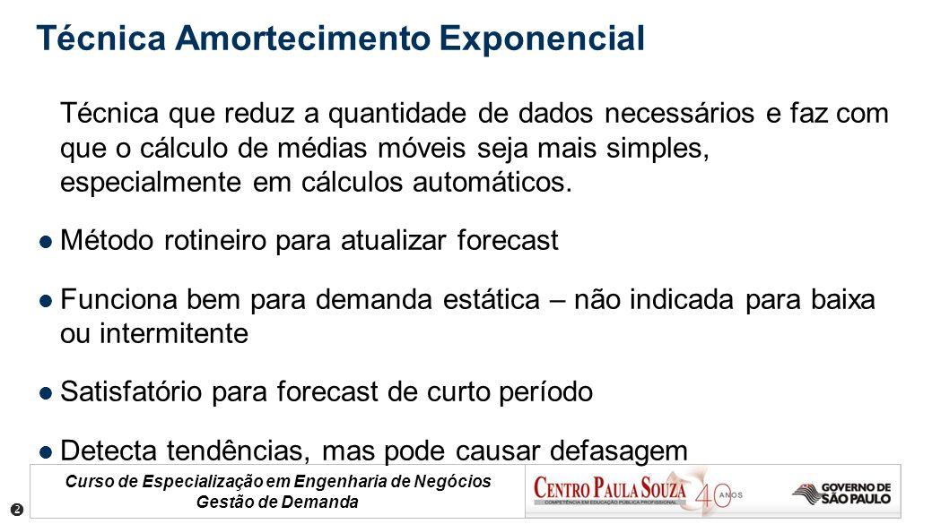 Curso de Especialização em Engenharia de Negócios Gestão de Demanda Técnica Amortecimento Exponencial Técnica que reduz a quantidade de dados necessár