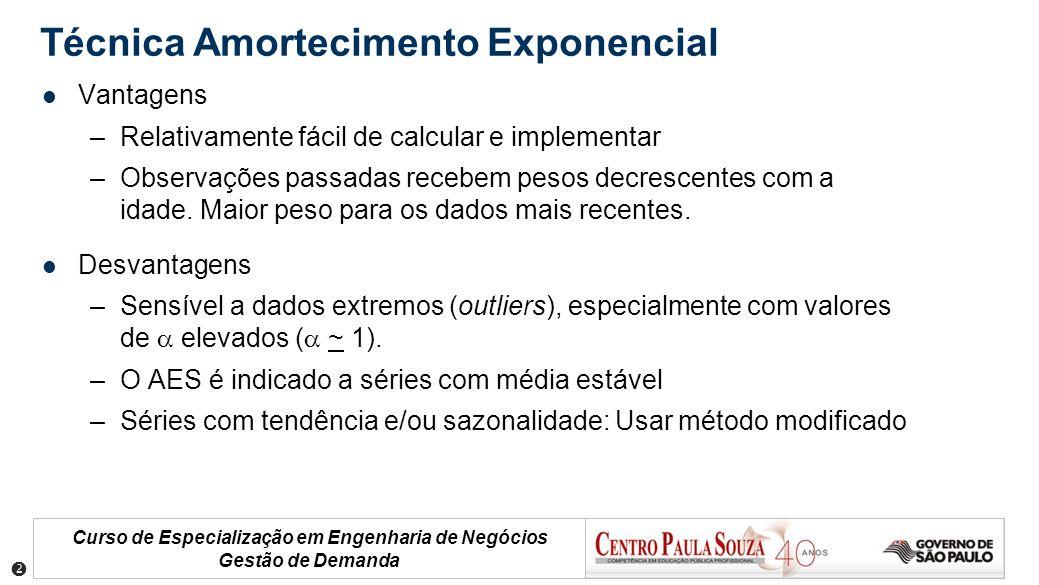 Curso de Especialização em Engenharia de Negócios Gestão de Demanda Vantagens –Relativamente fácil de calcular e implementar –Observações passadas rec