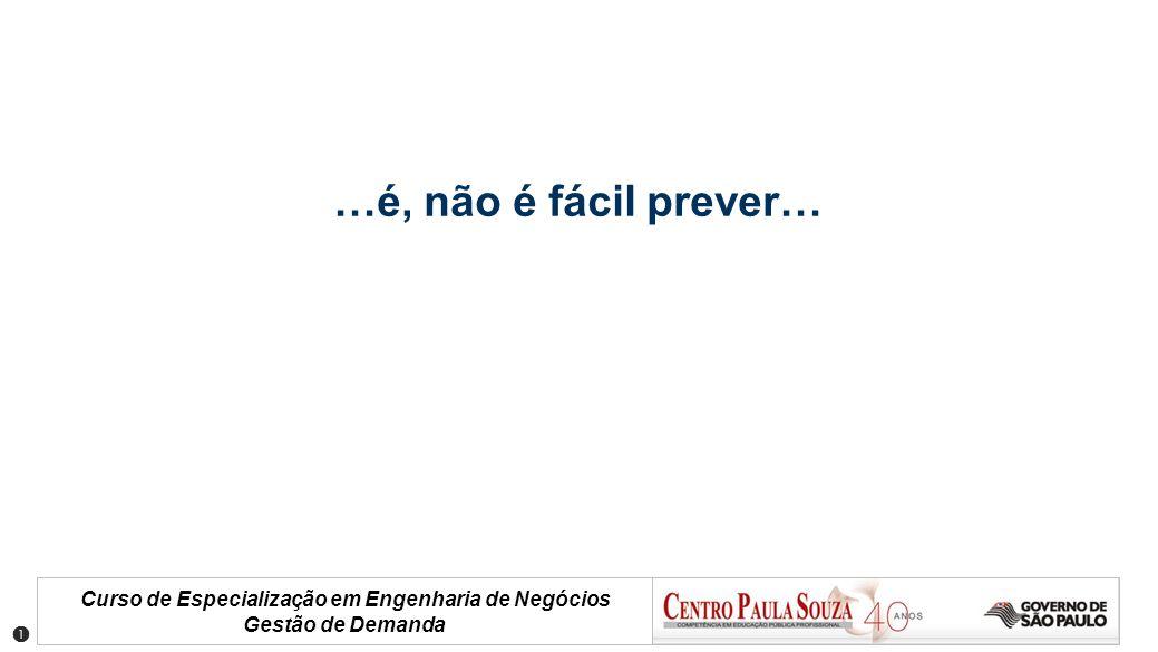 Curso de Especialização em Engenharia de Negócios Gestão de Demanda Incerteza de Previsão