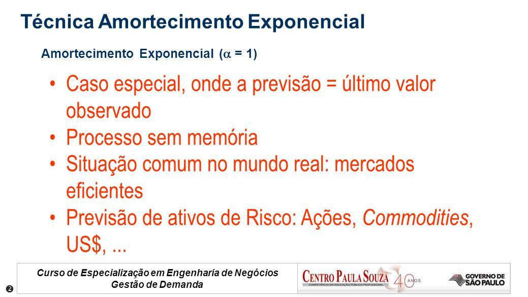 Curso de Especialização em Engenharia de Negócios Gestão de Demanda Amortecimento Exponencial ( = 1) Caso especial, onde a previsão = último valor obs