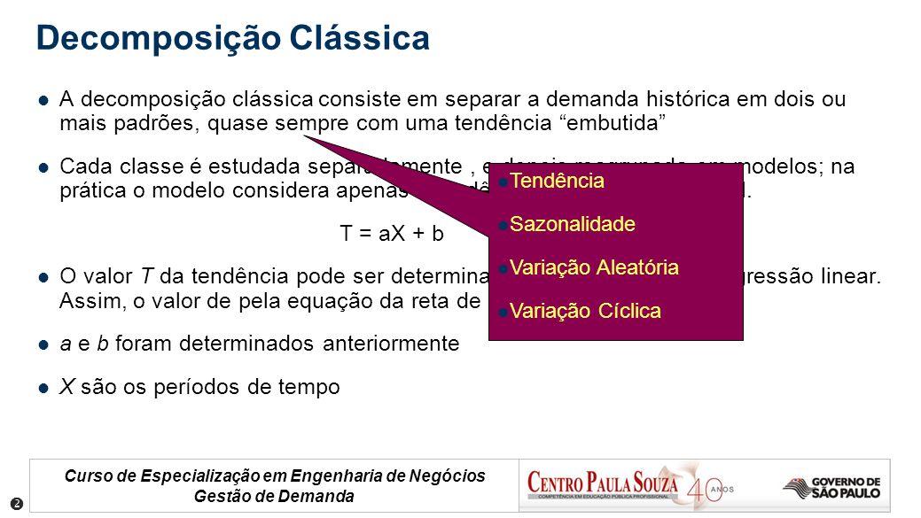 Curso de Especialização em Engenharia de Negócios Gestão de Demanda A decomposição clássica consiste em separar a demanda histórica em dois ou mais pa