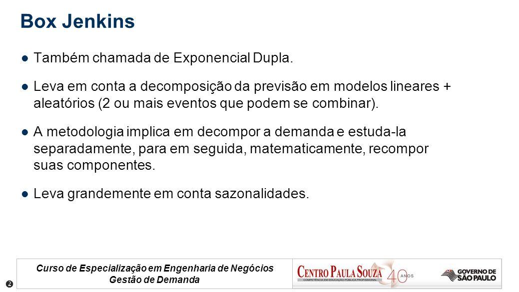 Curso de Especialização em Engenharia de Negócios Gestão de Demanda Box Jenkins Também chamada de Exponencial Dupla. Leva em conta a decomposição da p