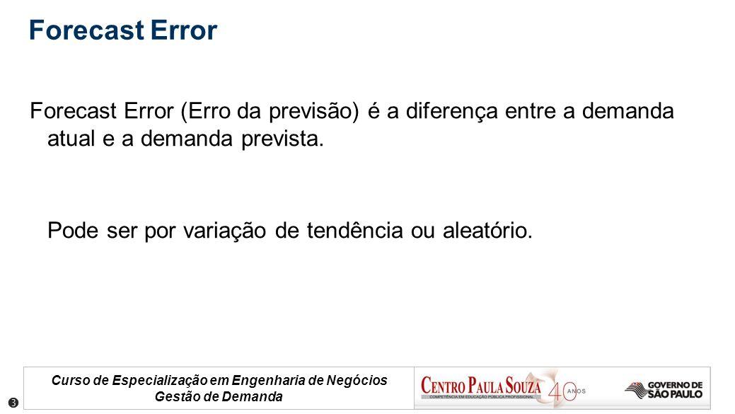 Curso de Especialização em Engenharia de Negócios Gestão de Demanda Forecast Error Forecast Error (Erro da previsão) é a diferença entre a demanda atu