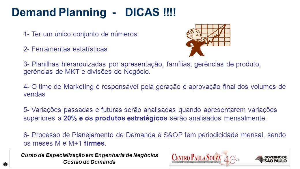 Curso de Especialização em Engenharia de Negócios Gestão de Demanda 1- Ter um único conjunto de números. 2- Ferramentas estatísticas 3- Planilhas hier