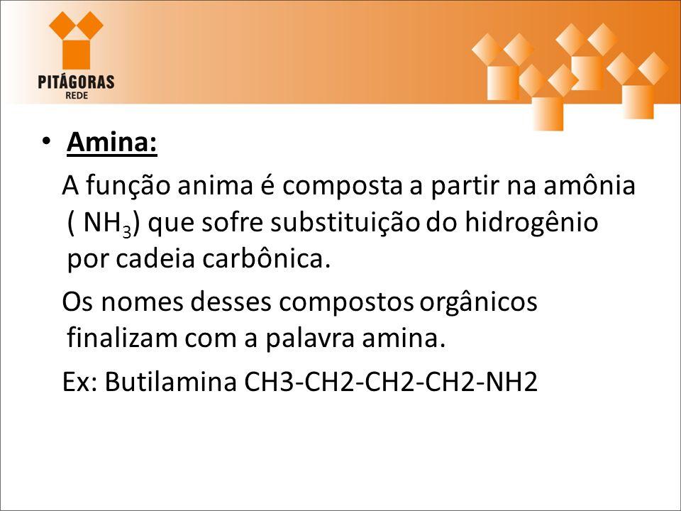 Amina: A função anima é composta a partir na amônia ( NH 3 ) que sofre substituição do hidrogênio por cadeia carbônica. Os nomes desses compostos orgâ